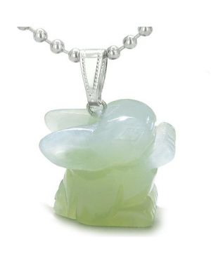 Amulet Lucky Charm Rabbit Totem New Jade Gemstone Good Luck Protection Powers Pendant Necklace