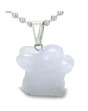 Amulet Lucky Charm Rabbit Totem White Jade Gemstone Good Luck Protection Powers Pendant Necklace