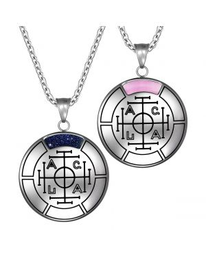 Fortune Wealth and Success Magic Medallion Amulets Love Couples Set Pendant Necklace