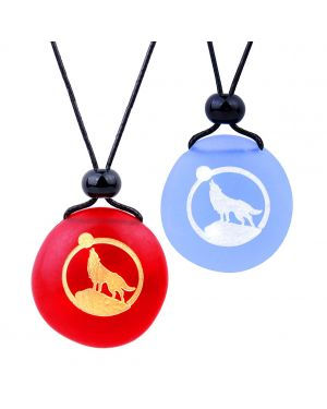 Frosted Sea Glass Stones Howling Wolf Moon Love Couples BFF Set Amulets Sky Blue Red Necklaces