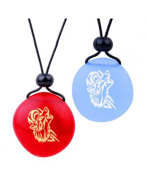Frosted Sea Glass Stones Celtic Energy Howling Wolf Love Couples BFF Set Amulets Sky Blue Red Necklaces