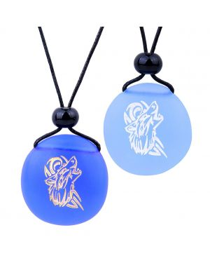 Frosted Sea Glass Stones Celtic Energy Howling Wolf Love Couples BFF Set Amulets Sky Royal Blue Necklaces