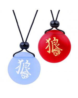 Frosted Sea Glass Stones Kanji Courage Wolf Paw Love Couples BFF Set Amulets Sky Blue Red Necklaces
