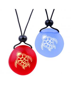 Frosted Sea Glass Stones Adorable Magic Turtle Love Couples BFF Set Amulets Sky Blue Red Necklaces