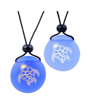 Frosted Sea Glass Stones Adorable Magic Turtle Love Couples BFF Set Amulets Sky Royal Blue Necklaces