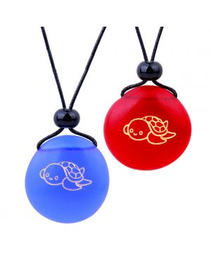Frosted Sea Glass Stones Adorable Lucky Baby Turtle Love Couples BFF Set Amulets Royal Blue Red Necklaces