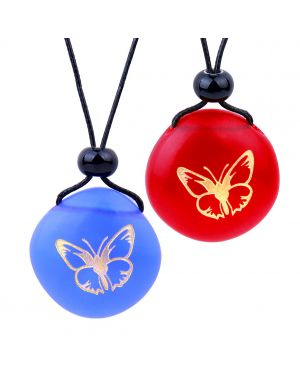 Frosted Sea Glass Stones Adorable Lucky Butterfly Love Couples BFF Set Amulets Royal Blue Red Necklaces