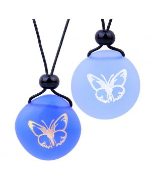 Frosted Sea Glass Stones Adorable Lucky Butterfly Love Couples BFF Set Amulets Sky Royal Blue Necklaces