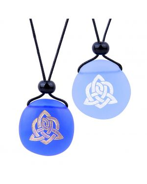 Frosted Sea Glass Stones Magic Celtic Triquetra Knot Love Couples BFF Amulets Sky Royal Blue Necklaces