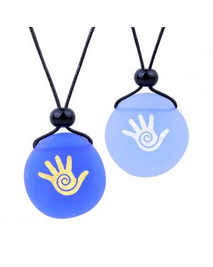 Frosted Sea Glass Stones Buddha Magic Energy Hand Love Couples BFF Set Amulets Sky Royal Blue Necklaces