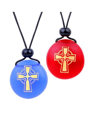 Frosted Sea Glass Stones Ancient Viking Celtic Cross Love Couples BFF Amulets Royal Blue Red Necklaces