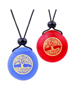 Frosted Sea Glass Stones Celtic Magic Tree of Life Love Couples BFF Set Amulets Royal Blue Red Necklaces