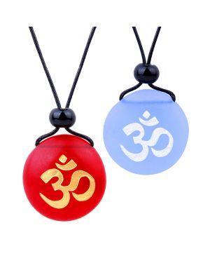 Frosted Sea Glass Stones Ancient Tibetan Om Ohm Love Couples BFF Set Amulets Sky Blue Red Necklaces