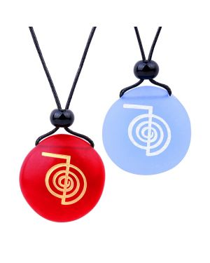 Frosted Sea Glass Stones Choku Rei Reiki Energy Love Couples BFF Set Amulets Sky Blue Red Necklaces