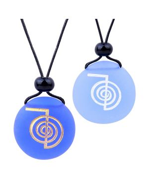 Frosted Sea Glass Stones Choku Rei Reiki Energy Love Couples BFF Set Amulets Sky Royal Blue Necklaces