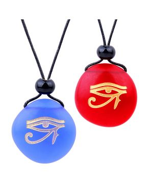 Frosted Sea Glass Stones All Seeing Eye of Horus Love Couples BFF Set Amulets Royal Blue Red Necklaces