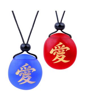 Frosted Sea Glass Stones Universal Mutual Love Kanji Love Couples BFF Amulets Royal Blue Red Necklaces