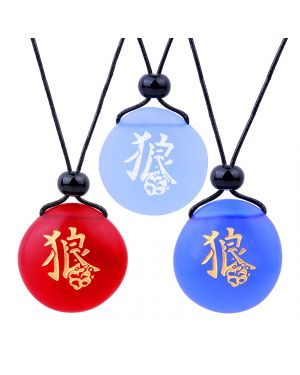 Frosted Sea Glass Stones Kanji Courage Wolf Paw Best Friends BFF Set Amulets Royal Sky Blue Red Necklaces