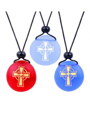 Frosted Sea Glass Stones Ancient Viking Celtic Cross Best Friends BFF Amulet Royal Sky Blue Red Necklaces