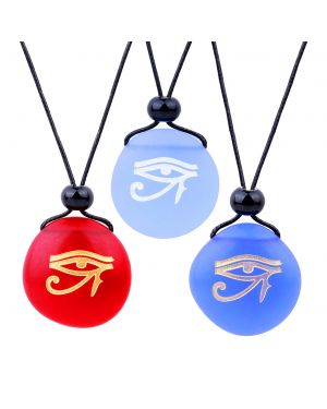 Frosted Sea Glass Stones All Seeing Eye of Horus Best Friends BFF Amulets Royal Sky Blue Red Necklaces