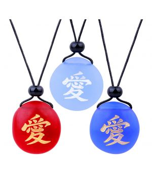 Frosted Sea Glass Stones Universal Mutual Love Kanji Best Friends BFF Amulet Royal Sky Blue Red Necklaces