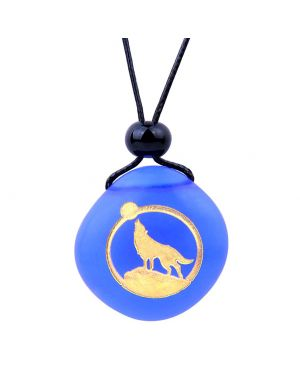 Amulet Frosted Sea Glass Stone Howling Wolf and Moon Good Luck Powers Royal Blue Adjustable Necklace