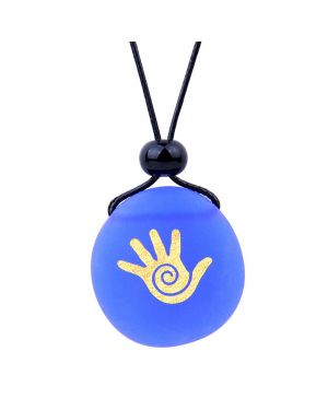 Amulet Frosted Sea Glass Stone Buddha Magic Energy Hand Good Luck Powers Royal Blue Adjustable Necklace