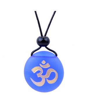 Amulet Frosted Sea Glass Stone Ancient Tibetan Om Ohm Good Luck Powers Royal Blue Adjustable Necklace