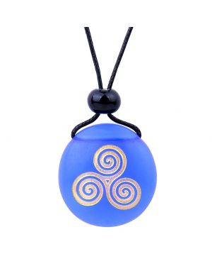 Amulet Frosted Sea Glass Stone Spirit of Life Goddess Knot Good Luck Power Royal Blue Adjustable Necklace