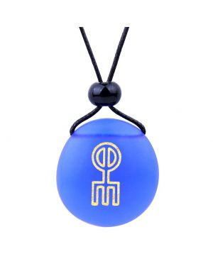 Amulet Frosted Sea Glass Stone Norse Rune Love Spell Charm Good Luck Power Royal Blue Adjustable Necklace