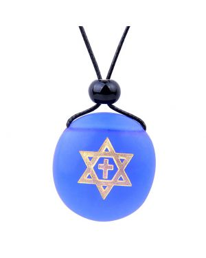 Amulet Frosted Sea Glass Stone Star of David and Cross Good Luck Powers Royal Blue Adjustable Necklace