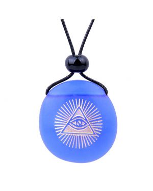 Amulet Frosted Sea Glass Stone Magic All Seeing Eye of God Good Luck Power Royal Blue Adjustable Necklace