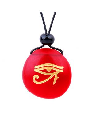 Amulet Frosted Sea Glass Stone All Seeing Eye of Horus Good Luck Powers Royal Red Adjustable Necklace