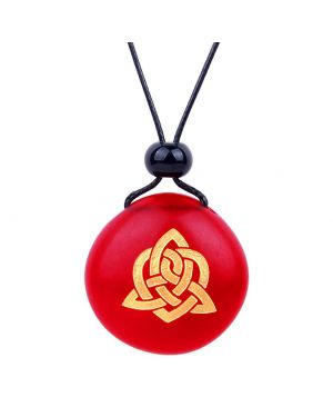 Amulet Frosted Sea Glass Stone Magic Celtic Triquetra Knot Good Luck Powers Royal Red Adjustable Necklace