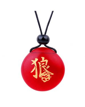 Amulet Frosted Sea Glass Stone Kanji Courage Wolf Paw Good Luck Powers Royal Red Adjustable Necklace
