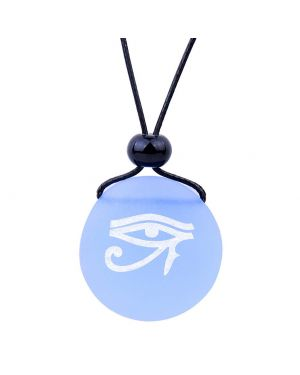 Amulet Frosted Sea Glass Stone All Seeing Eye of Horus Good Luck Powers Sky Blue Adjustable Necklace