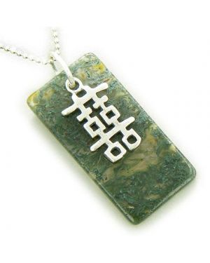 Double Happiness Fortune 925 Silver Moss Agate Pendant Necklace