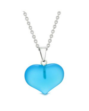 Cute Puffy Heart Sea Glass Positive Energy and Love Powers Amulet Sky Blue Charm 18 Inch Necklace