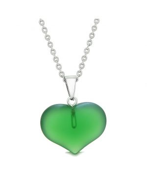 Cute Puffy Heart Sea Glass Positive Energy and Love Powers Amulet Forest Green Charm 22 Inch Necklace