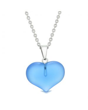 Cute Puffy Heart Sea Glass Positive Energy and Love Powers Amulet Cloud Blue Charm 22 Inch Necklace