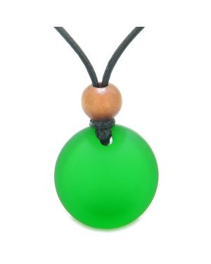 Reversible Full Moon Frosted Sea Glass Forest and Neon Green Amulet Good Luck Life Energy Necklace