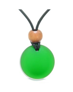 Reversible Full Moon Frosted Sea Glass Forest Green and Mist White Amulet Good Luck Life Energy Necklace