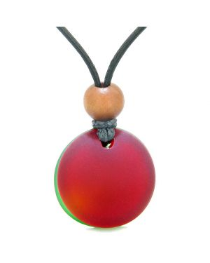Reversible Full Moon Frosted Sea Glass Cherry Red and Forest Green Amulet Good Luck Life Energy Necklace