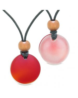Reversible Full Moon Frosted Sea Glass Cherry Red and Mist White Amulets Love Couples or BFF Necklaces