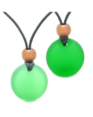 Reversible Full Moon Frosted Sea Glass Forest and Neon Green Amulets Love Couples or BFF Necklaces