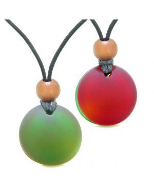 Reversible Full Moon Frosted Sea Glass Forest Green and Cherry Red Amulets Love Couples or BFF Necklaces