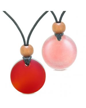Reversible Full Moon Frosted Sea Glass Cherry Red and Ocean Foam Amulets Love Couples or BFF Necklaces