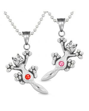 Amulets Cute Kitty Cat Love Couples or Best Friends Set Red Pink Sparkling Crystals Necklaces