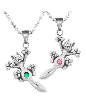 Amulets Cute Kitty Cat Love Couples or Best Friends Set Green Pink Sparkling Crystals Necklaces