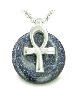 All Powers of Life Ankh Egyptian Amulet Blue Goldstone Good Luck Energy Donut Necklace